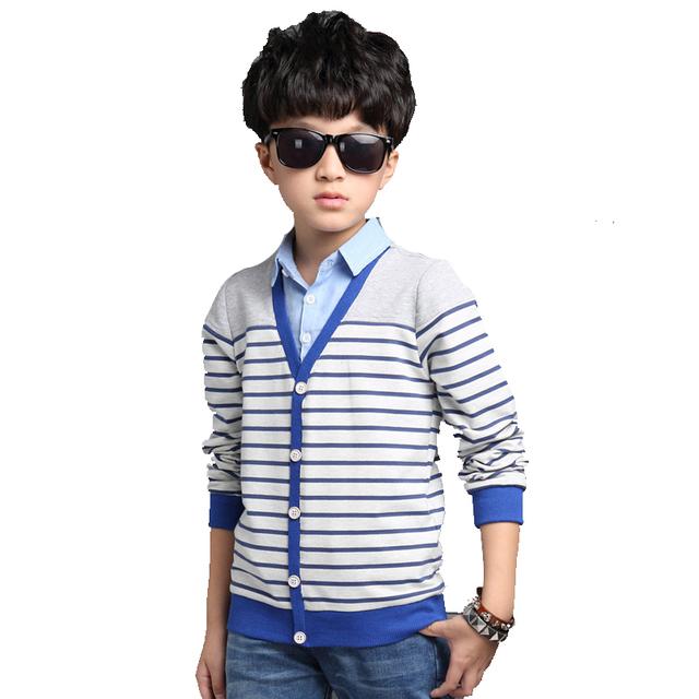 Meninos Camisas de Malha Moda Infantil Blusas Roupas Crianças Primavera Outono Manga Comprida Listrada Tops Adolescente Roupas 5 15 Anos