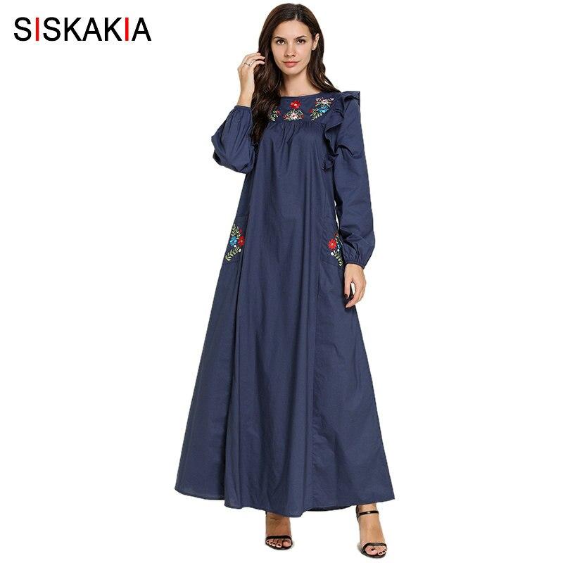 Siskakia Women Long Dress Autumn 2019 Elegant Ethnic Agaric Lace Patchwork Maxi Dresses Plus Size Floral Pockets Embroidery Blue