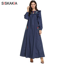 Siskakia Women Long Dress Autumn 2019 Elegant ethnic Agaric Lace Patchwork Maxi Dresses Plus Size Floral Pockets Embroidery Blue(China)