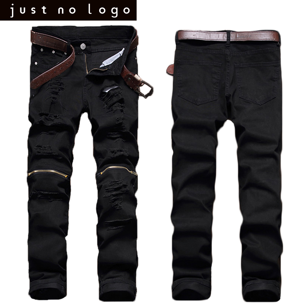 Red White Black Men Biker Knees Zipper Denim Ripped Jeans Slim Fit ...