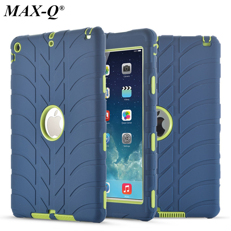 For iPad 5 air1 9.7'' Kids Baby Safe Armor Shockproof Heavy Duty Silicone Tires Hard Case Cover Screen Protector Film+Stylus Pen hot case for ipad 5 cover shockproof kids protector case for apple ipad air case air1 cover pc silicone hybrid robot stylus pen