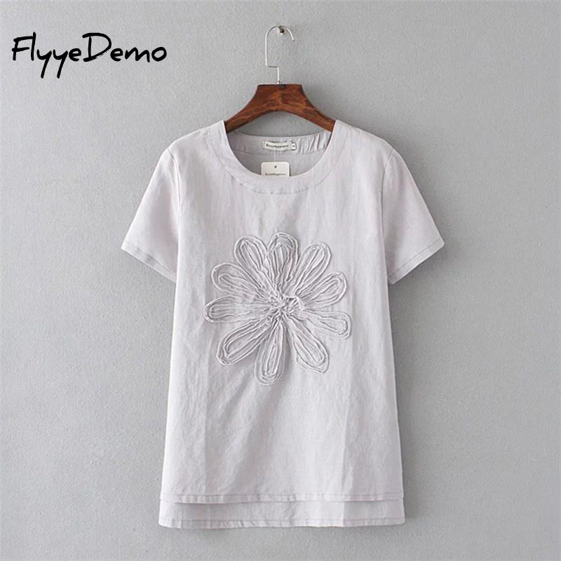 2018 New Fashion Summer Brand Tee Women Tops High Quality Cotton Linen 3D Floral Embroidery Short Sleeve Ladies Luxury   T     Shirt