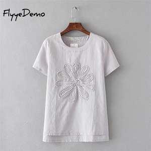 3613b4f59304 FlyyeDemo 2018 Summer Tee Women Tops Cotton Linen T Shirt