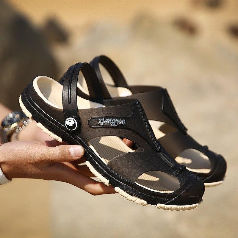 Для мужчин Пляжная Летняя обувь Тапочки Дышащий воды сандалии мужской Садоводство обуви открытые пляжные сандалии для прогулок Sapatenis Masculino