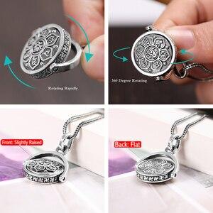 Image 3 - BALMORA 925 스털링 실버 불교 회 전자 회전 매력 펜던트 & 목걸이 남성 여성 패션 6 단어 sutra Jewelry