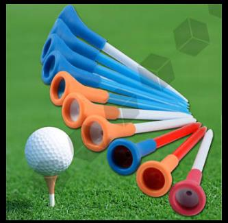 Free Shipping 50pcs/bag Multi Color Plastic New Golf Tees Rubber Cushion Top