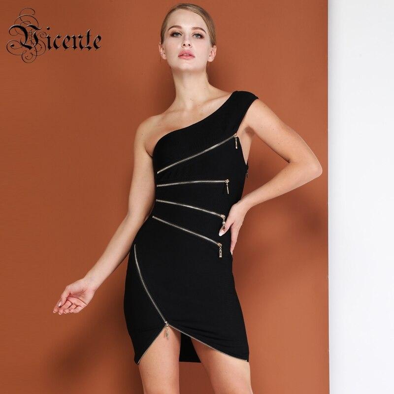 Une Wear La Noir Vicente Bandage Sexy Mode Épaule Manches Zipper Chaude Club Sans Celebrity À Robe Party Embelli Mini FaaBqzfwU