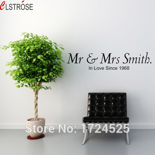clstrose new mr mrs smith in love since 1968 wedding wall stickers decal vinyl quotes for living room bedroom sofa background in wall stickers from home