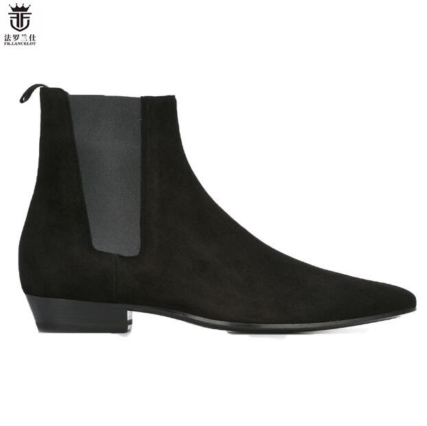 2018 FR.LANCELOT Brand Design Superstar Black Cow Suede Real Leather Elastic Band Flats Men Boots Sapatos Mujer Spring Shoes Men