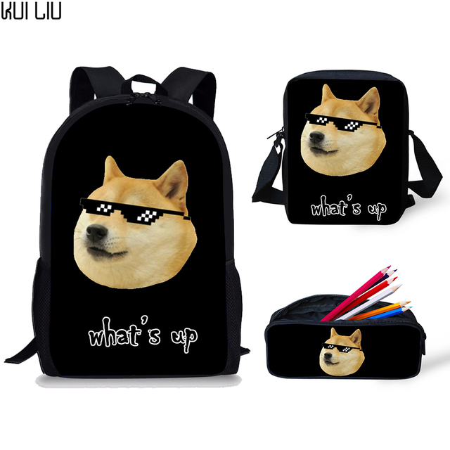 Backpack Childrens Funny Hiba Doge Husky Emoji Print School Bags Kids Satchel School Men Women Backpacks for Boys Book Bag