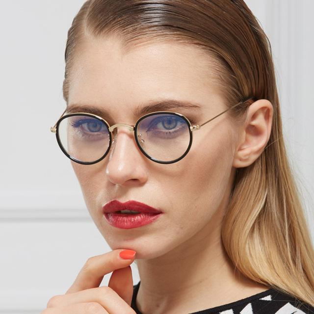 Ojo de Metal marcos de los vidrios de las mujeres Miopía gafas de marco Redondo espejo llano hombres transparentes gafas Silueta De Marca