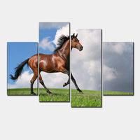 4 Panels Horse Art Large Picture Frames Wall Painting Print On Canvas For Home Decor Ideas