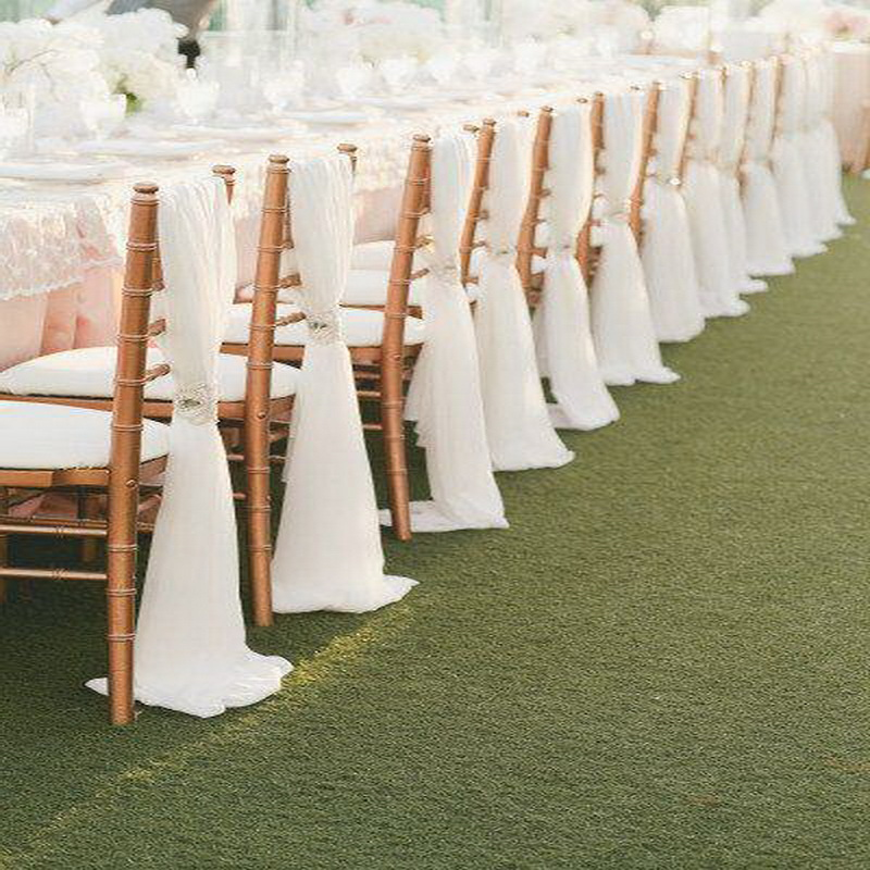 High Quality  White Wedding Fancy Chiffon Tiffany Chair Sashes For Banquet Events Party Decoration
