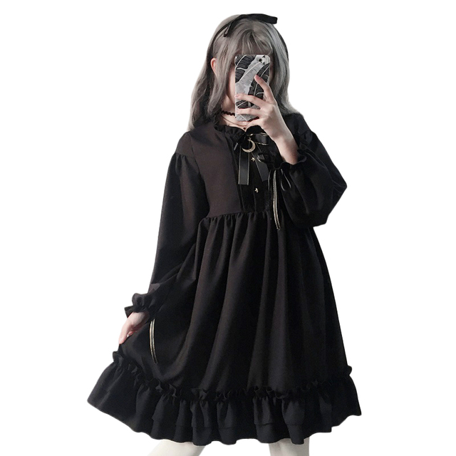 Harajuku Gothic Lolita Black Womens Dress With Stars Buttons 2018 Autumn Japanese Lace Up Long Sleeves Ruffles Teen Girls Dress 2