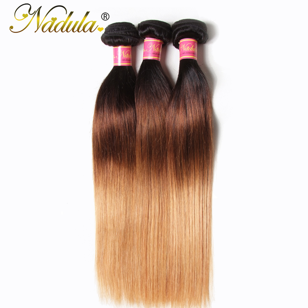 Nadula Ombre Hair Bundles 16 26inch Peruvian Straight Human Hair Extensions 1B 4 27 Color Remy