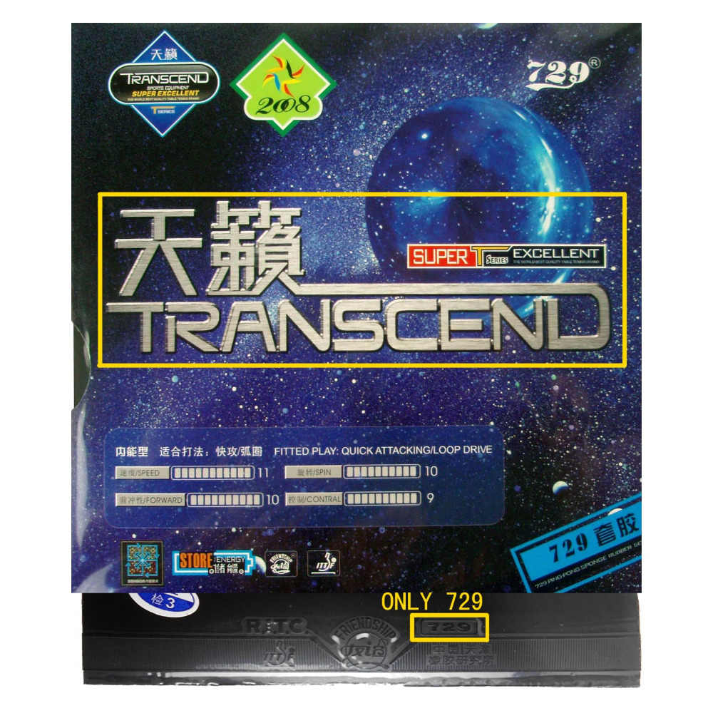 Sanwei CC Table Tennis Blade With 2x 729 Transcend Rubber With Sponge for a PingPong Racket Long Shakehand FL