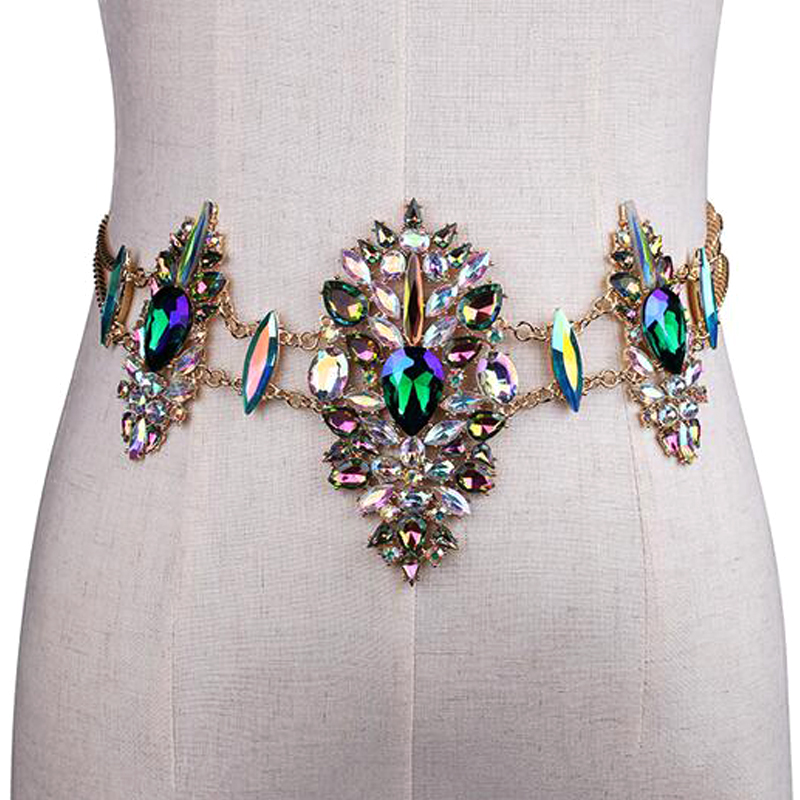 Hot sell women metal chain crystal   belts   bikini sexy low waist body chain alloy   belt   elaticity female waist accessories