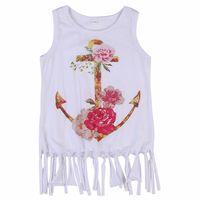 Baby Kids Girls Flower Princess Party Evening Cotton Tassel  Dress Clothes Cute White Children Clothing Summer Costume Girl