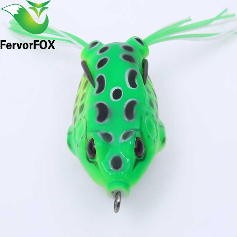"""FervorFOX 1 PC צינור רך צפרדע פתיונות דיג פלסטיק פיתיון יפן פיתוי Topwater ריי צפרדע 5.5 ס""""מ 13 גרם טרבל הוקס רך מלאכותי פיתיון"""