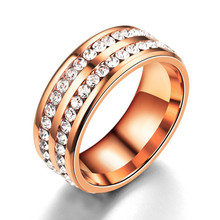 2019 New Rose Gold Crystal Rings Men Two Row Black/Silver Stones Male Wedding Band Cool Valentines Day Gift For Boyfriend