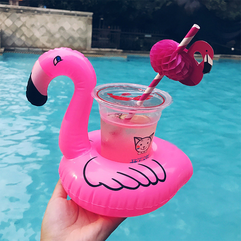 Mini Water Coasters Boia Flamingo Floating Inflatable Cup Holder Swimming Pool Drink Float Toy