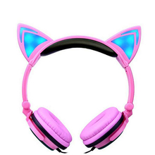Cartoon Cat Ear Headphones Foldable Flashing Glowing Gaming Headset for Kids&Adult LED Light Headphone for iPhone for Xiaomi PC
