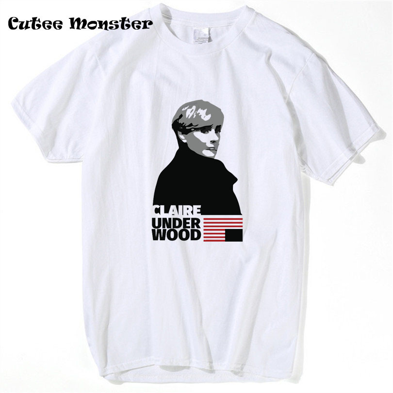 Claire Underwood House of Cards T-Shirt 2017 Fashion US TV series T shirt Men Short Sleeve Top Tees Clothing 3XL