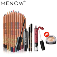 Buy 3 Get 1 MENOW Make Up Set 12 Colors Silky Wood Eyeliner Matte Liquid Lipstick