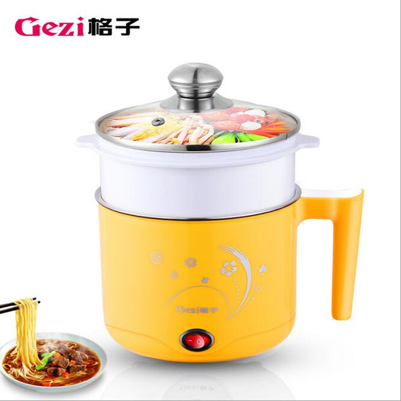 220V/600W 1.2L Portable Multi Cooker Mini Electric Hot Pot Stainless Steel Inner Electric Cooker With Steam Lattice For Students 110v 220v dual voltage travel cooker portable mini electric rice cooking machine hotel student multi stainless steel cookers