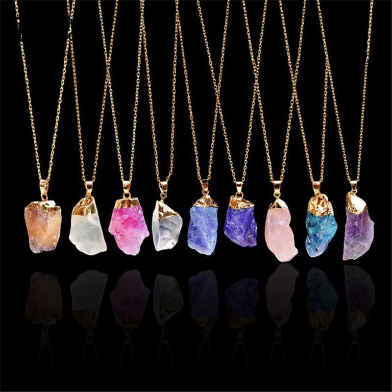 HuaTang Trendy Alloy Multicolour Natural Stone Chain Necklace Rhinestone Quartz Pendant Charms Necklaces Collar Brincos 2470