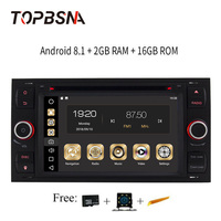 TOPBSNA 2 din Android 8.1 Car Multimedia Player for Ford/Mondeo/Focus/Transit/C MAX/S MAX/Fiesta GPS Navigation Headunit WIFI FM