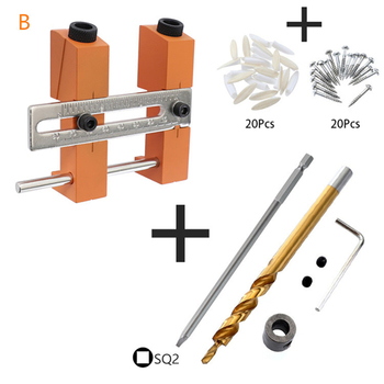 """9.5mm 3/8"""" Drill Bits Adjustable Double Pocket Hole Jig System Doweling Drilling Jig Punch Locator Woodworking Drill Tool"""