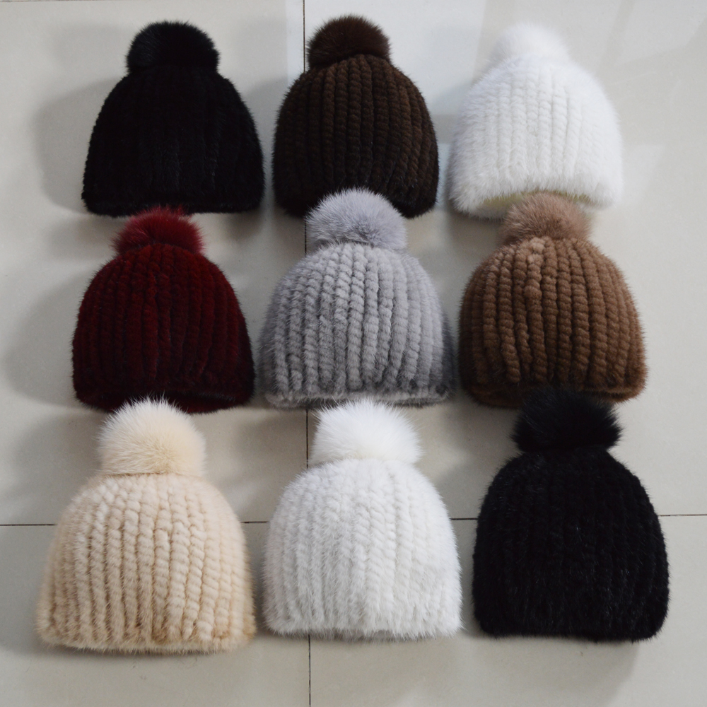 Image 5 - 2019 New Lovely Real Mink Fur Hat Women Winter Knitted Real Mink Fur Beanies Hats Fox Fur Pom Poms Thick Warm Real Mink Fur Cap-in Women's Skullies & Beanies from Apparel Accessories on AliExpress