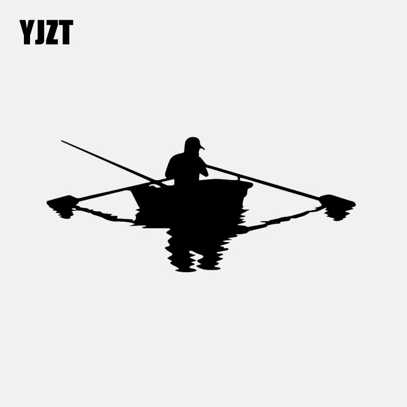 YJZT 16.5CM*7.2CM Fishman Boat Fishing Car Sticker Vinyl Decal Decor Black/Silver C24-0955