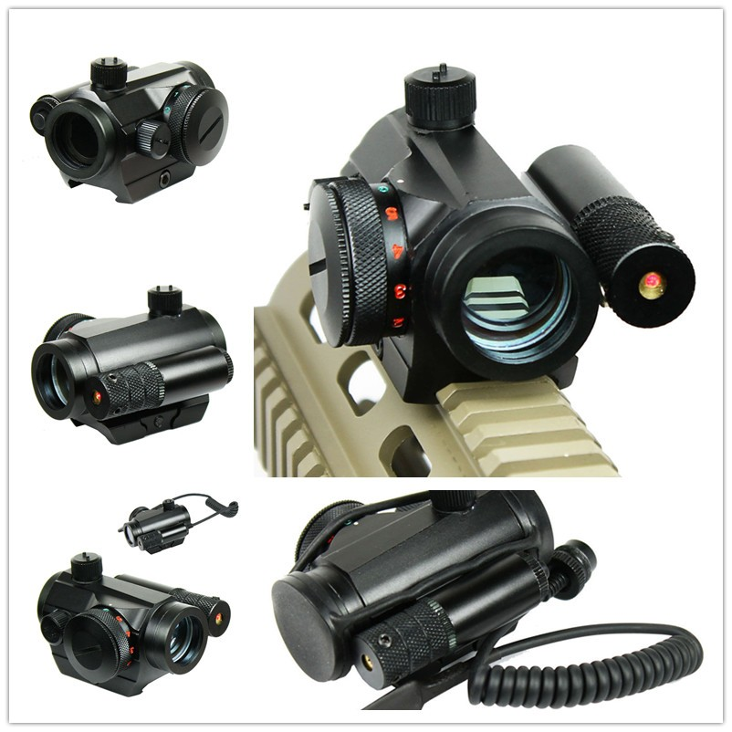 Tactical Rifle Airsoft Hunting Reflex Green / Red Dot Sight Scope & Laser Sight Combo with Rail Mount Tail switch