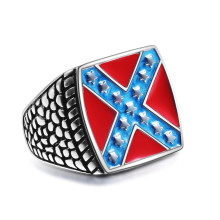 Newest Mens Biker Ring 316L Stainless Steel Gothic Style American Flag Ring White Supremacy Signet Ring jz037