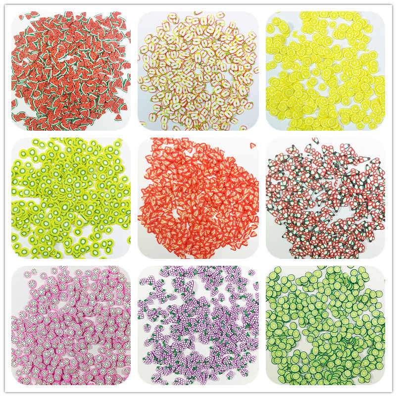 10g Fruit slice Slime Clay Sprinkles for Filler Supplies Watermelon kiwifruit orange fruit Mud Decoration Toys for Children Kids