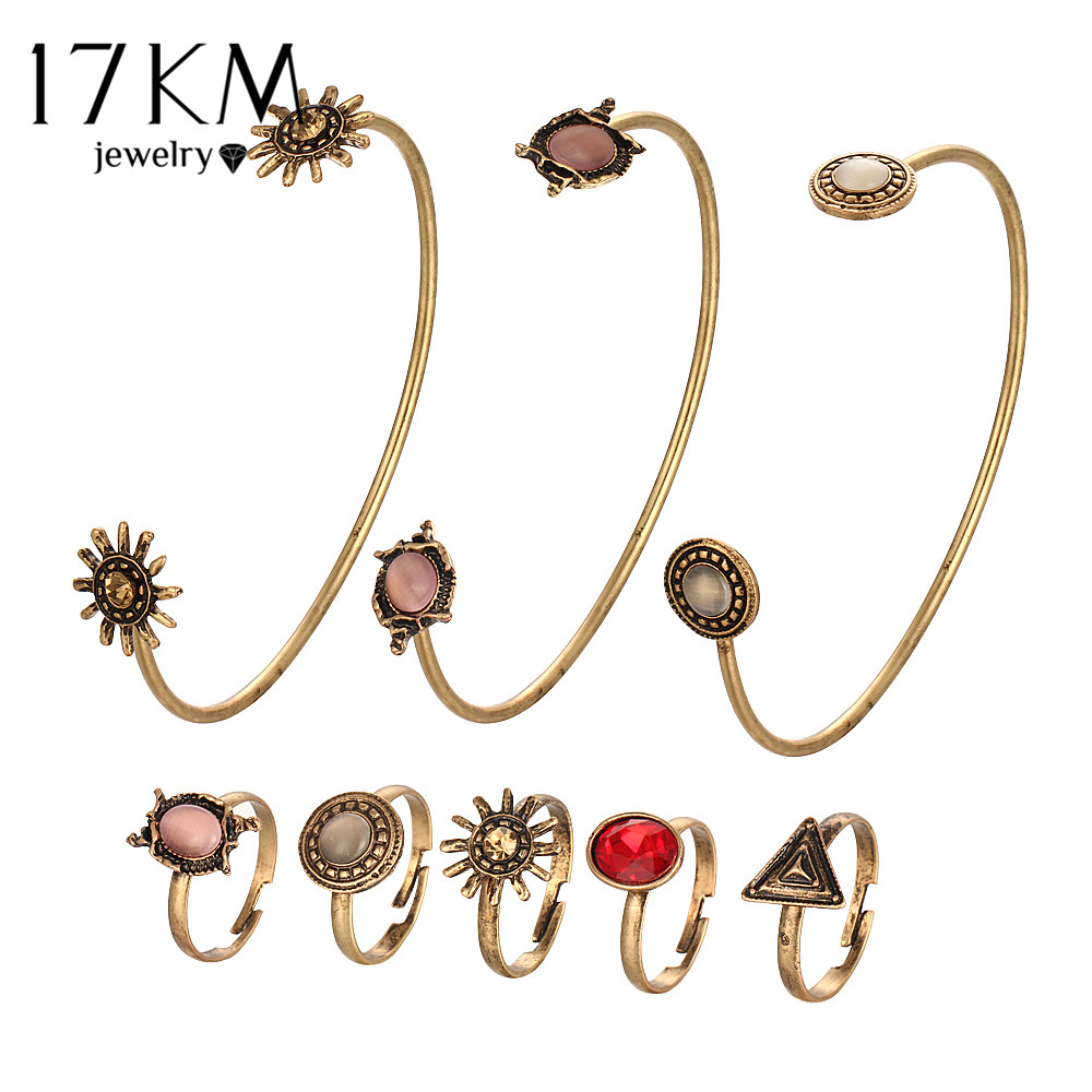 17KM Vintage Sun Flower Jewelry Sets For Woman Open Cuff Bangles Adjustable Rings Geometric Jewelry Set Female Boho Jewellery