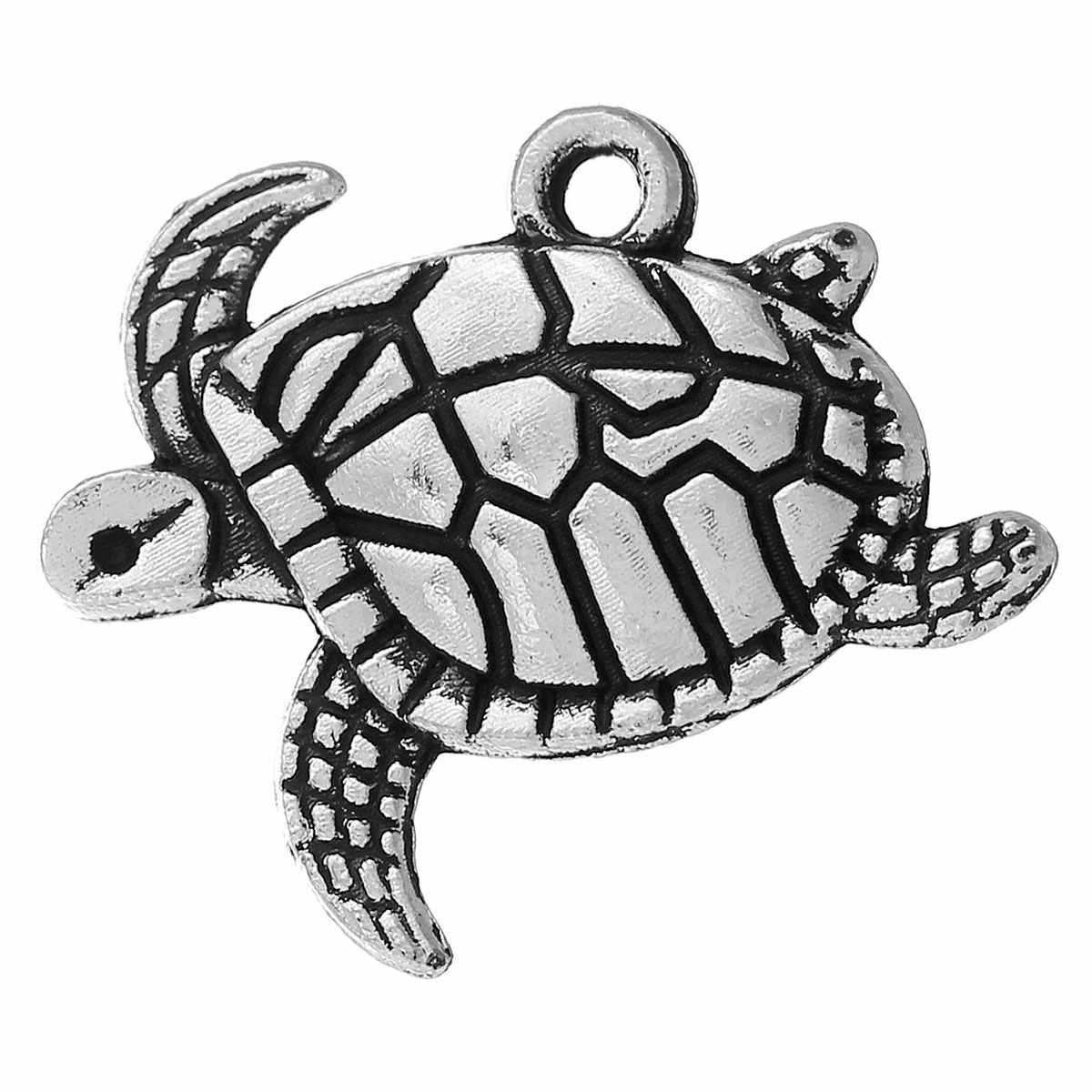 "DoreenBeads معدن الزنك سبيكة دلايات المعلقات السلاحف البحرية العتيقة الفضة 20 مللي متر (6/8 "") x 17 مللي متر (5/8"") ، 4 قطعة"