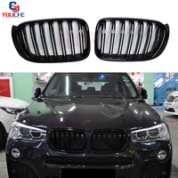 F25 F26 Dual Slat Front Bumper Kidney Grille Mesh For BMW X4 F26 X3 F25 2014 2017 5 door SUV Replacement Grills Grid