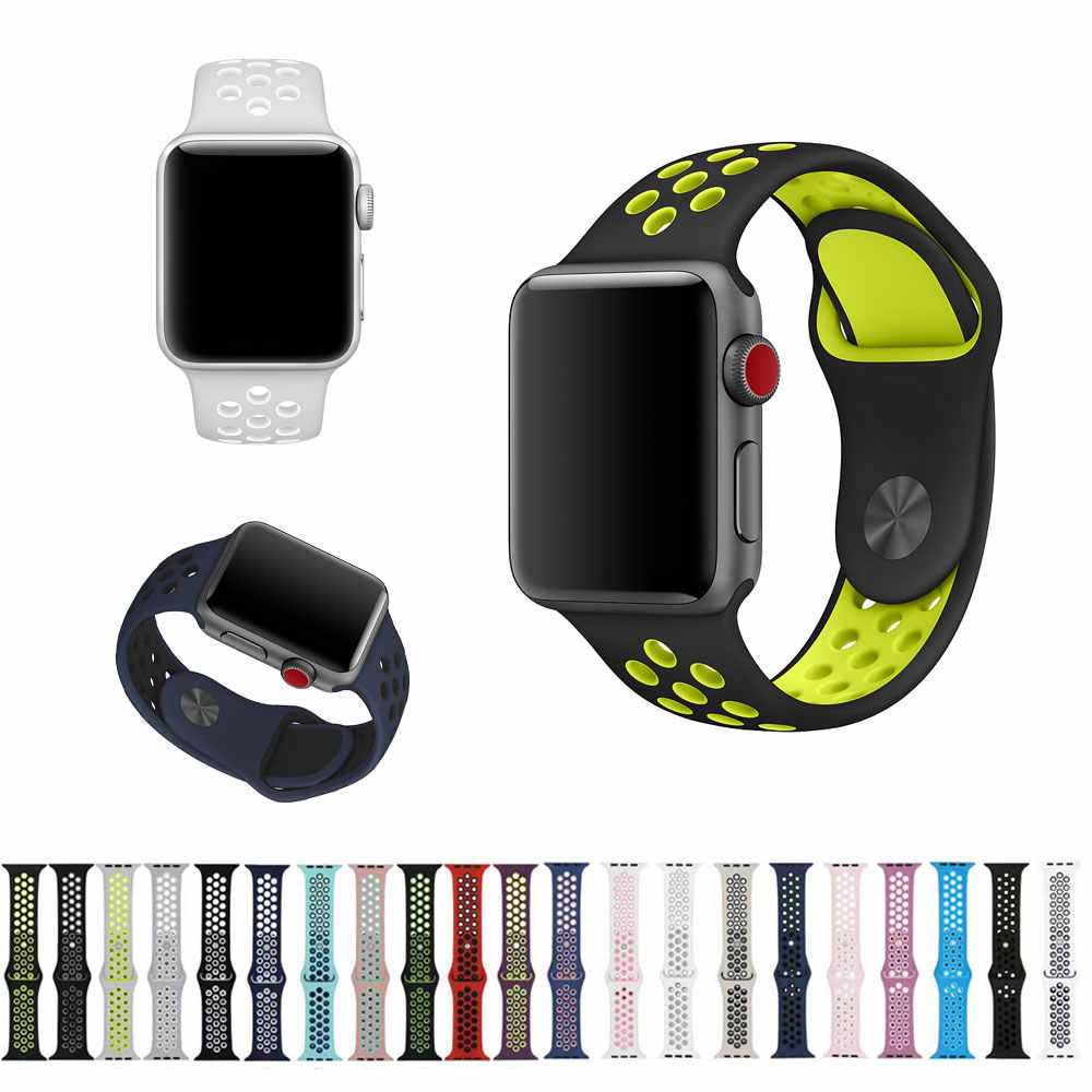 Silicone Strap for Apple Watch Band 44mm 40mm 42mm 38mm Bracelet Sport Wrist Watch Belt Rubber Watchband for iwatch 3/2/1