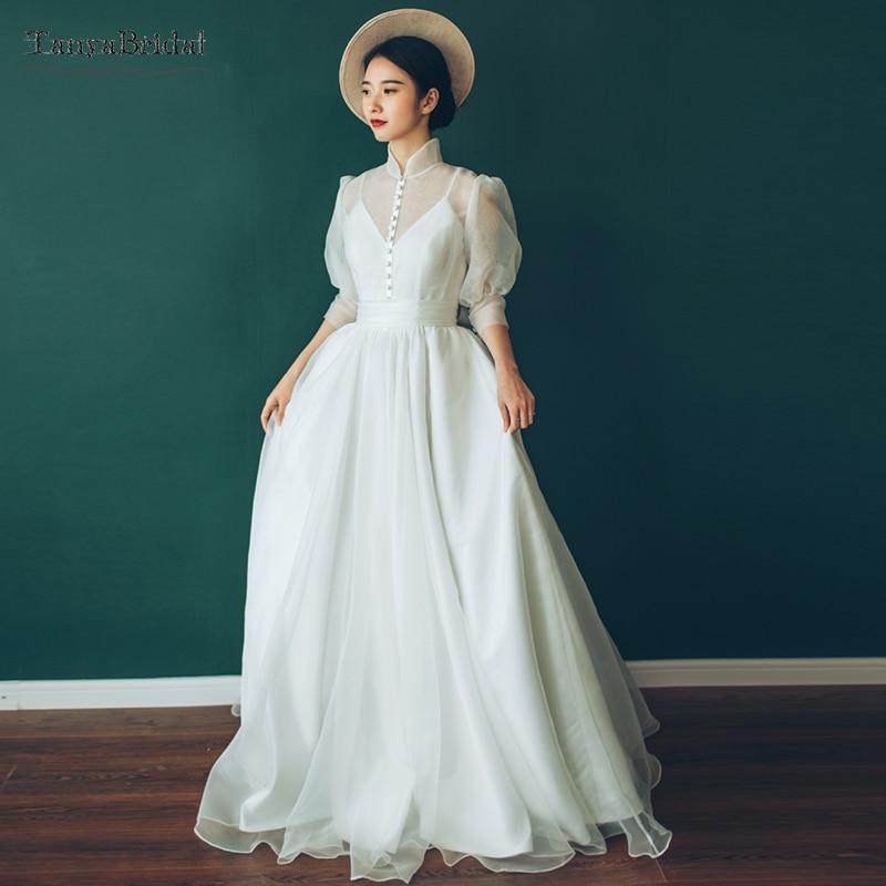 Tea Length Hepburn Style Wedding Dresses Vintage Button High Neck Bridal Gowns Fashion Summer Beach Noivas DW070