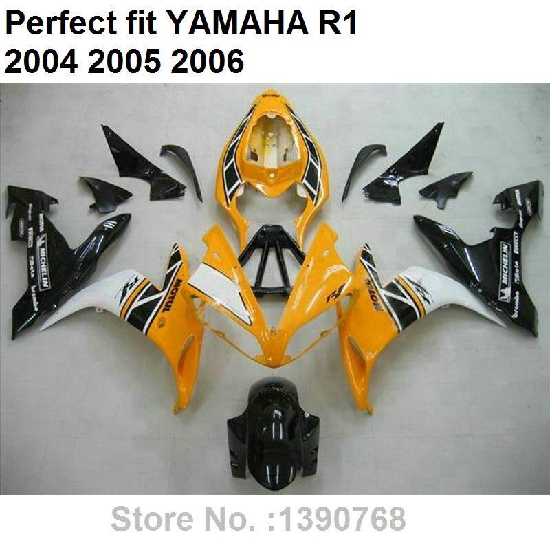 Carénage ABS de haute qualité pour moulage par injection Yamaha YZF R1 04 05 06 kit de carénages jaune noir blanc YZFR1 2004 2005 2006 LV28