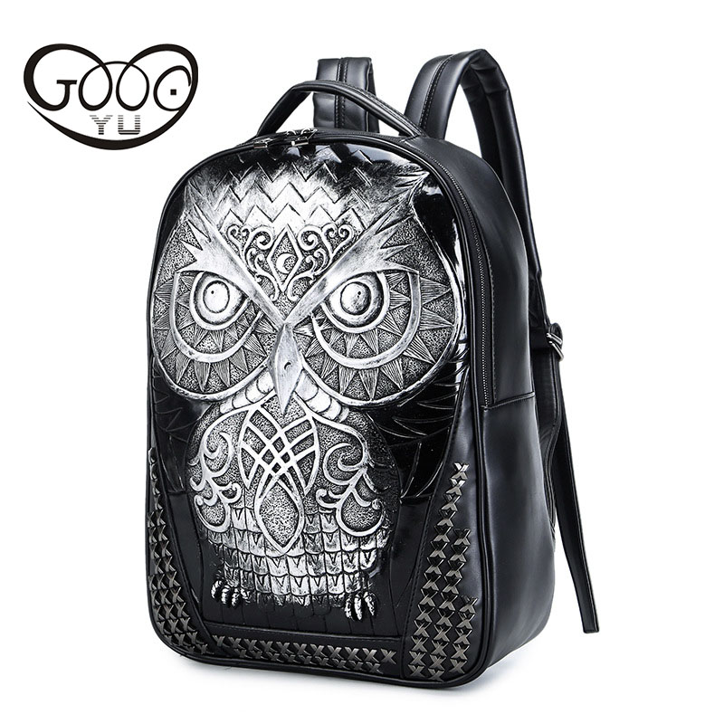 GOOG.YU Crossed rivets leather backpack men tide cool 3d owl Relief shape laptop backpacks creative paragraph neutral cat bagGOOG.YU Crossed rivets leather backpack men tide cool 3d owl Relief shape laptop backpacks creative paragraph neutral cat bag