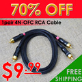 Only Sale: $9.99 !!! 1 Pair High quality Male to Male 4N OFC RCA Cable HiFi Audio Cable / 0.5M 1M , Free shipping