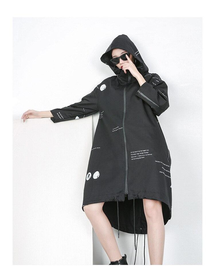 2019 Surdimensionné Printemps Imprimer Bf coat Hoode Outwear Lt567s50 Femmes Manteau Mince Winderbreaker Japonais Nouveau Trench Lettre À Capuche qIxXt