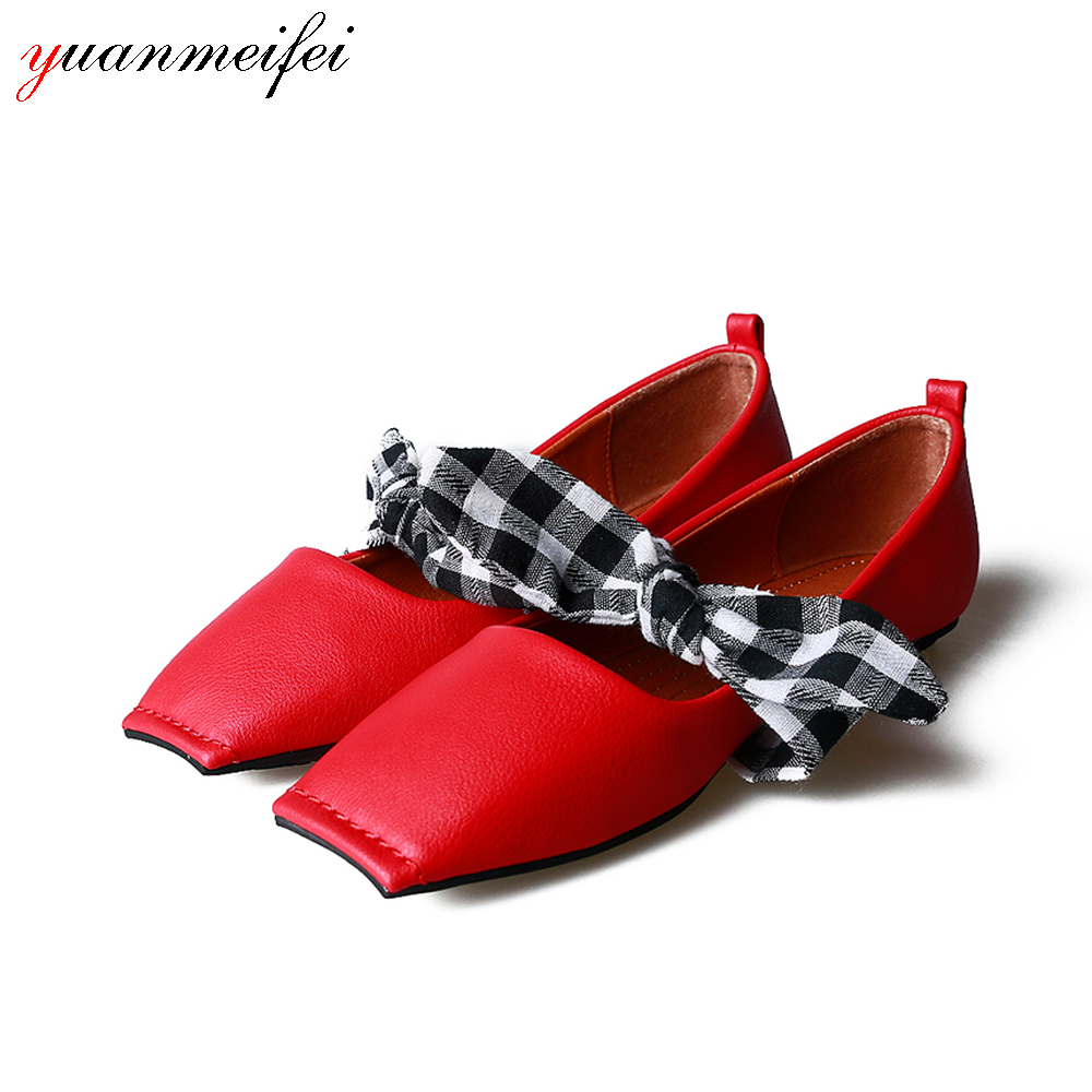 yuanmeifei Women Casual Loafers Shoes Flats Plus Size35-41 Spring/Autumn Fashion Bowtie Square Toe 2017 New Arrival Female Mujer 2017 spring summer new women casual pointed toe loafers flats ballet ballerina flat shoes plus size 34 43