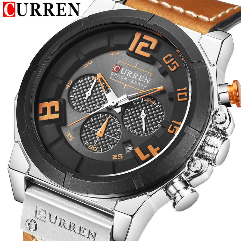 CURREN Date Chronograph Men Watch New Top Luxury Brand Sport Military Army Male Clock Leather Quartz Wrist Mens Watches Hot 8287 benyar brand chronograph men watch luxury sport waterproof mens quartz military wrist watches male leather clock saat with box