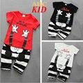 Disfraz de verão Infantil Agasalho Jongens Kleding Ouvidos 3D Listras Calça + Camisa Branca Vermelha Conjunto Fazer Mickey Conjuntos de Roupas KD270