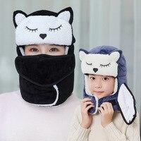Warm Winter Hats Cute Fox design Kids Bomber Hat Neck Warm Russian Hat For Women Men Wind Snow Cap Earflap Hat